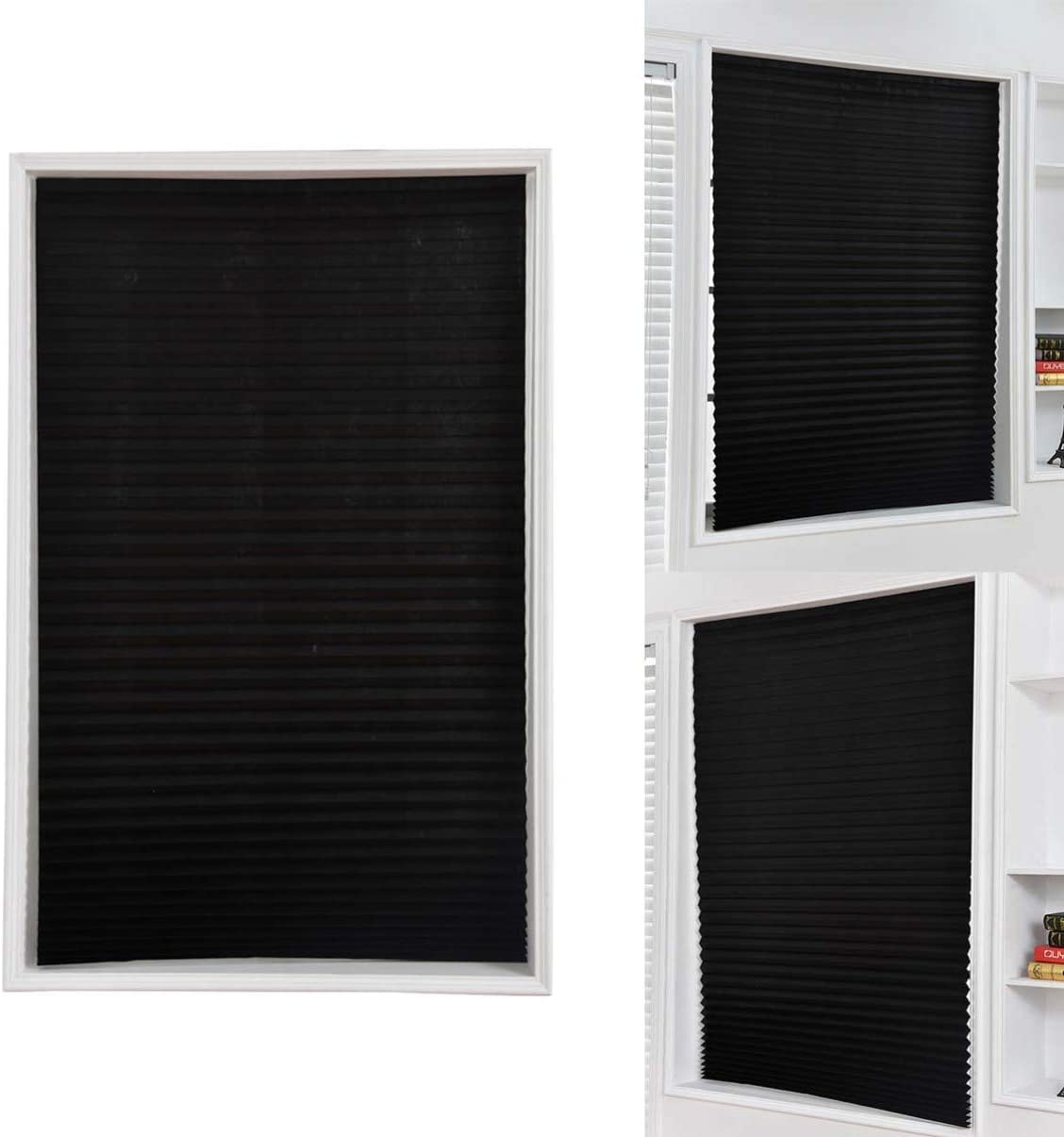 White LIOOBO Pleated Shade Curtain Non Woven Privacy Protecting Light Filtering Blind Pleated Fabric Shade for Balcony Bathroom Kitchen 60x150cm