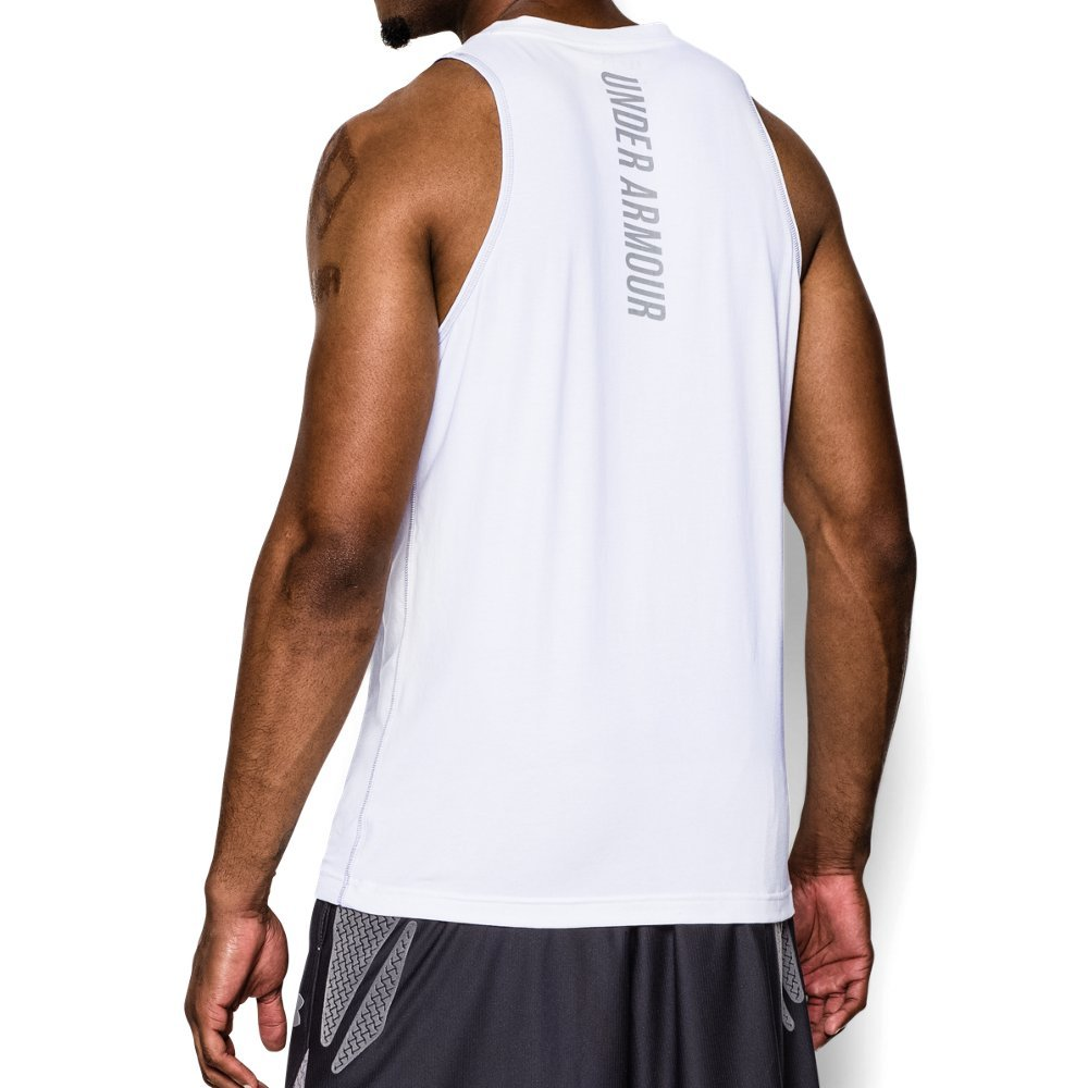 Under Armour Men's Charged Cotton Jus Sayin Too Tank, White (100)/Steel, Large