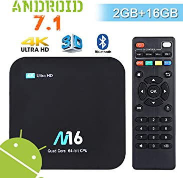 Android TV Box 4K - Wesho Android 7.1 Smart TV Box de 2GB RAM+16GB ROM con Bluetooth 4.0, Actualización del Procesador Amlogic S905X Quad Core, Soporta WiFi 2.4GHz, Android Box Media Player: