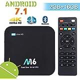 Android TV Box Android 7.1 - Wesho Android Box con 2GB RAM 16GB R0M, Chip Potenti Amlogic S905X Quad-Core, Smart TV Box 4K UHD, 2.4GHz WiFi / Bluetooth 4.0 / HDMI / AV
