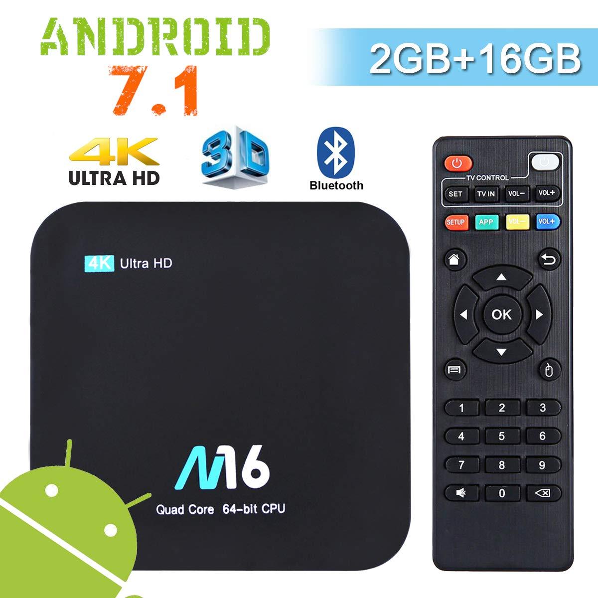 Android TV Box 4K - Wesho Android 7.1 Smart TV Box de 2GB RAM+16GB ROM con Bluetooth 4.0, Actualizació n del Procesador Amlogic S905X Quad Core, Soporta WiFi 2.4GHz, Android Box Media Player Actualización del Procesador Amlogic S905X Quad Core
