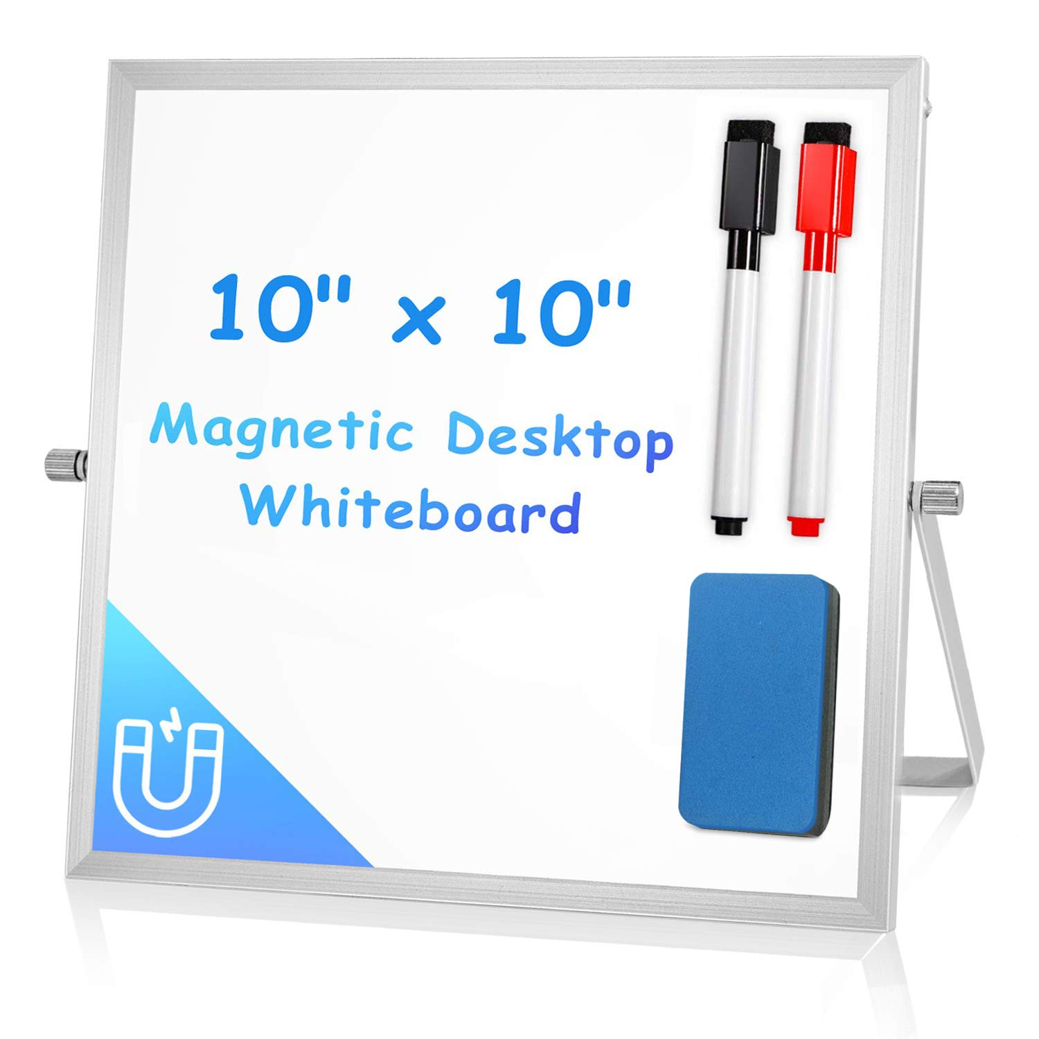 "Small Dry Erase White Board for Desk 10"" X 10"", Arcobis Magnetic Double Sided Personal Desktop Tabletop Dry Erase Board Easel Board with Stand for Kids Home Office"