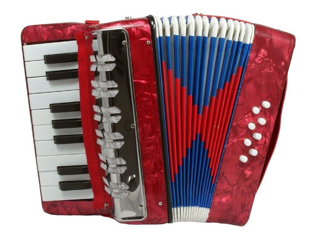 UC 104 Kids Piano Accordion 17 Keys 8 Bass, Red Perloid China