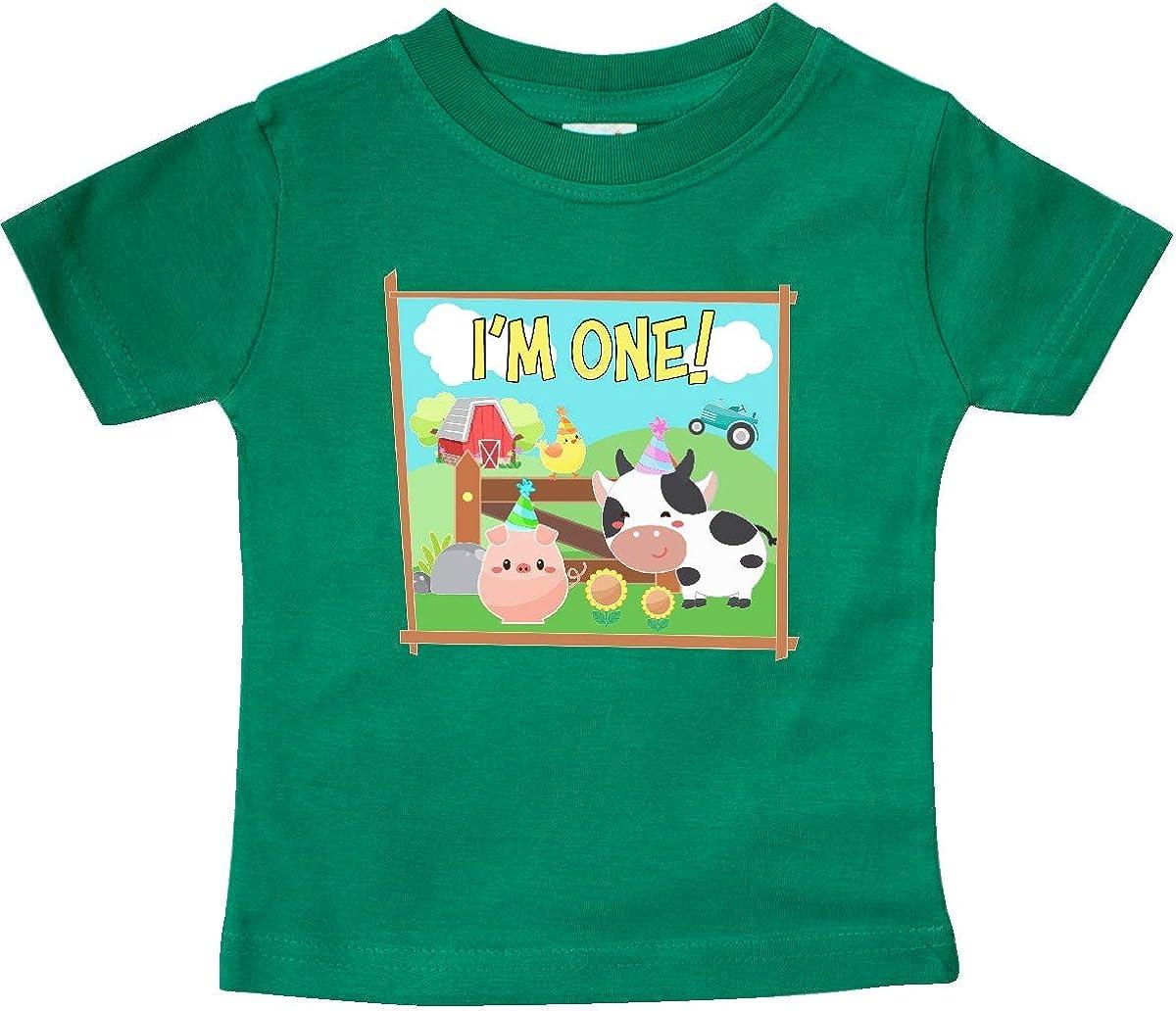 inktastic Im 1 Farm Animals Wearing Birthday Party Hats Baby T-Shirt