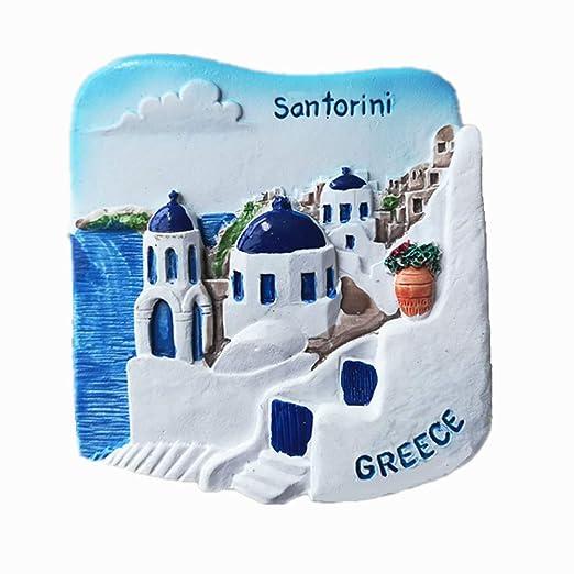 Imán para nevera de recuerdo de Grecia 3d Santorini: Amazon.es: Hogar