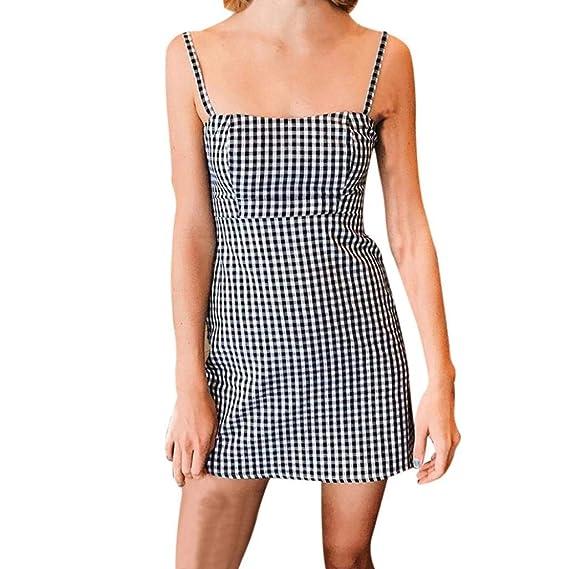 Vestidos Halter De Mujer,Moda Honda Sin Hombros Diario Casual Enrejado Cómodo Suelto Faldas (