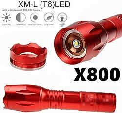 Compia 3000lúmenes linterna táctica 5modos linterna LED de enfoque ajustable lámpara antorcha portátil con Ultra-Clear lente de vidrio