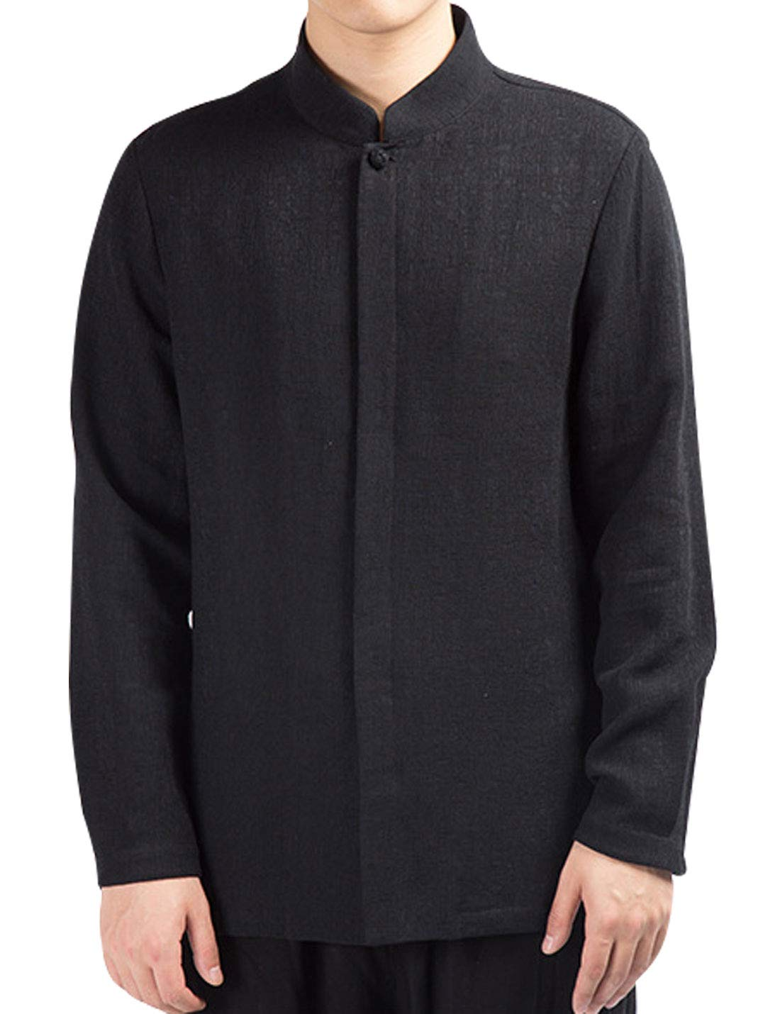Omoone Mens Long Sleeve Chinese Traditional Tai Chi Tang Suit Cotton Linen Shirt(Black-XL)