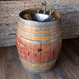 Natural Wine Barrel Vanity with Hammered Nickel Sink, Freight Shipping Included