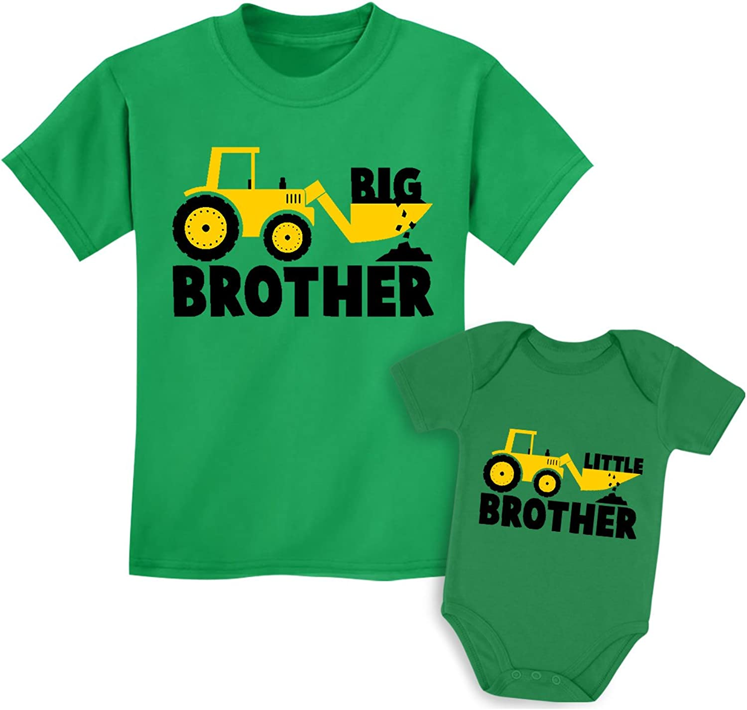 TeeStars Big Brother Little Brother Shirts Gift for Tractor Loving Boys Siblings Set