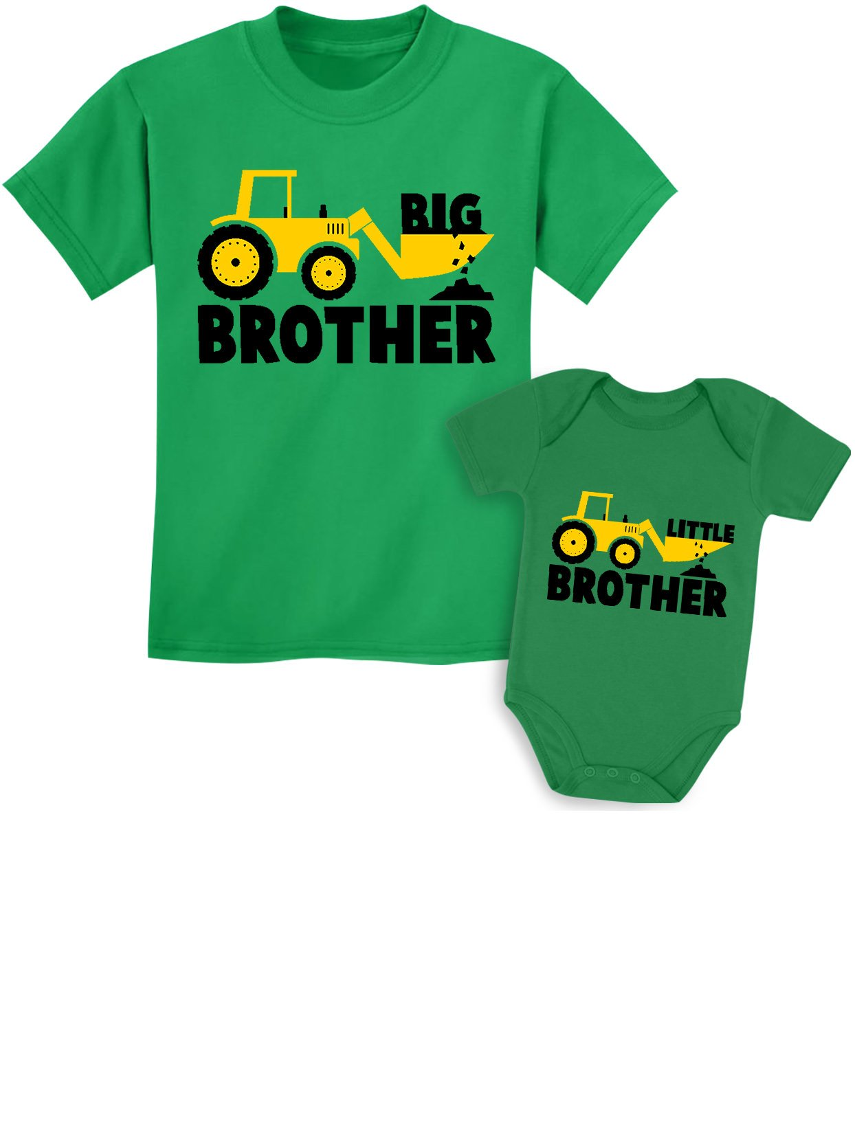 Tstars Big Brother Little Brother Shirts Gift for Tractor Loving Boys Siblings Set Baby Green/Kids Green Baby Newborn/Kids 2T