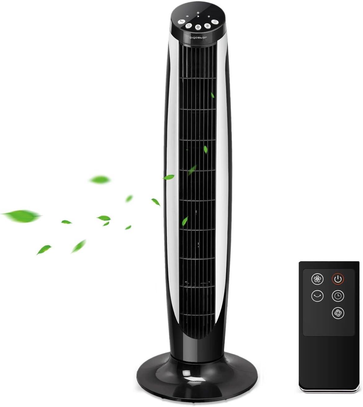 Aigostar Eiffel 33JTT - Ventilador de torre oscilante con mando a distancia. Temporizador programable, 3 modos de funcionamiento y 3 velocidades, motor 45 W, oscilación de 70 °. Diseño exclusivo.