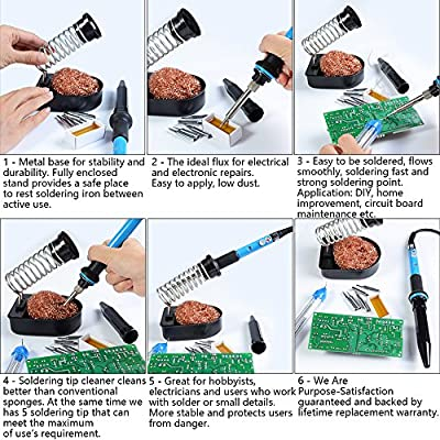 Soldering Iron Stand-Solder Stand Holder,HANDSKIT Soldering Iron Holder,Soldering Iron Tip Cleaner Set with Solder Sponge and Flux Rosin: Home Improvement