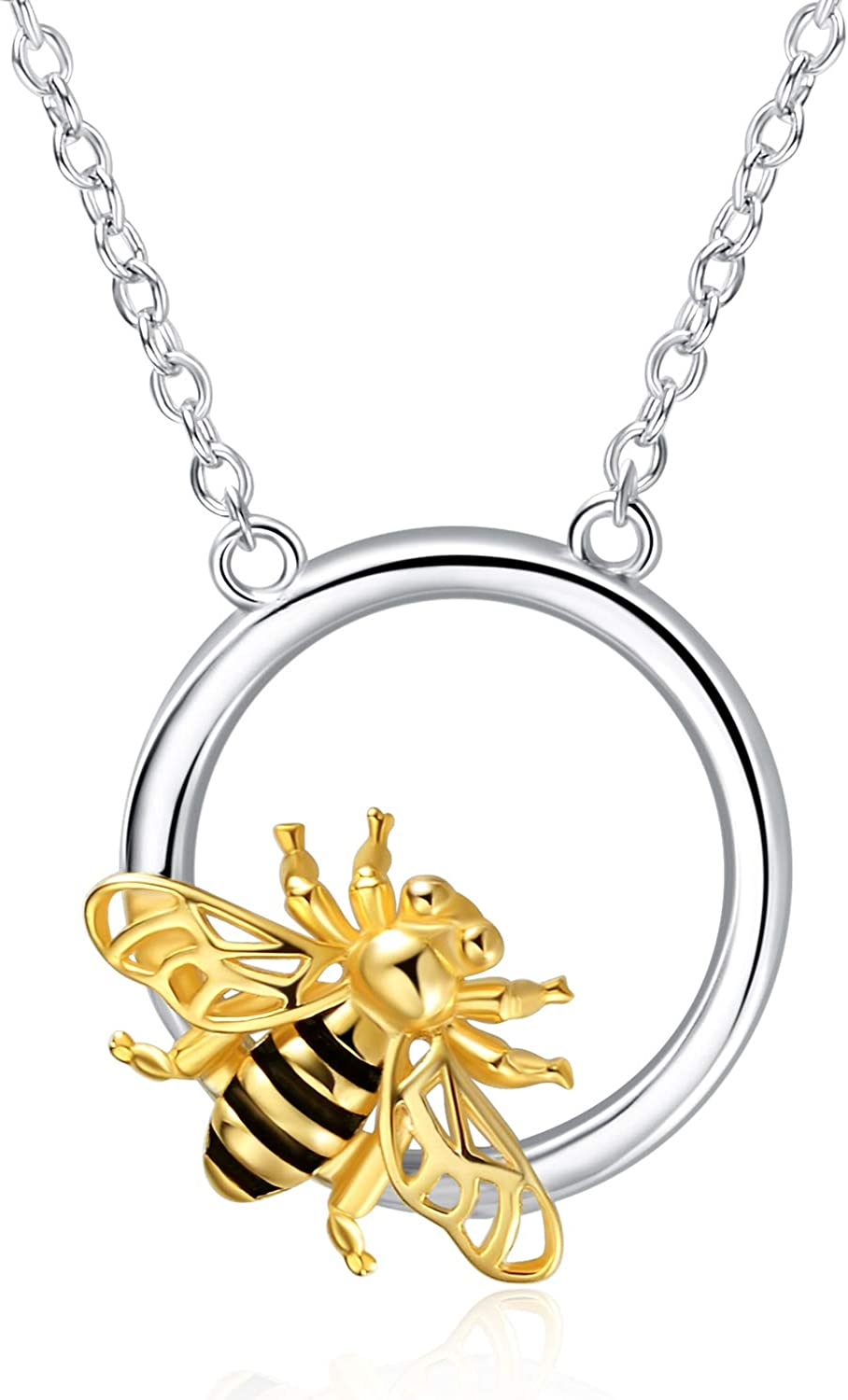 YFN Bee Necklace 925 Sterling Silver Bee Jewelry Honeybee Bumblebee Pendant Necklace for Women Girls Gifts
