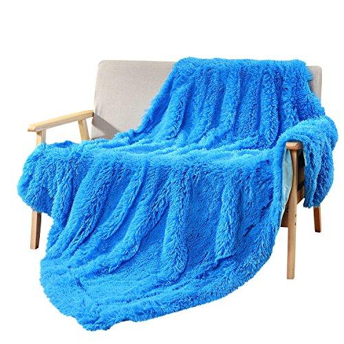 Reversible Acrylic - DECOSY Super Soft Hand-Feeling Faux Fur Sofa Blanket Royal Blue 60