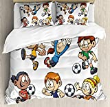 Soccer Full Duvet Cover Sets 4 Piece Bedding Set Bedspread with 2 Pillow Sham, Flat Sheet for Adult/Kids/Teens, Children Cartoon Drawing Style Kids Playing Football Happy Moments Active Lifestyle