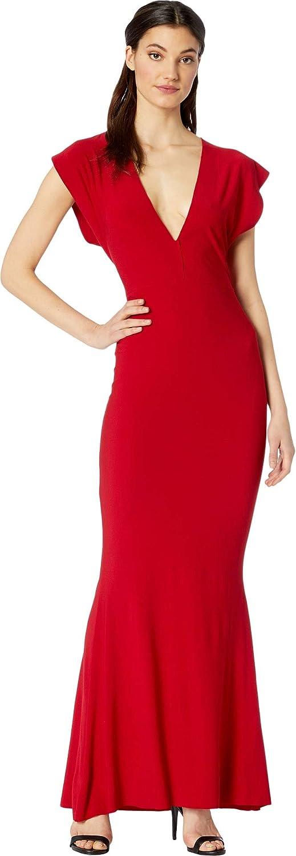KAMALIKULTURE by Norma Kamali V-Neck Rectangle Gown Red SM