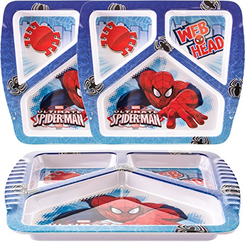 Zak! (3 Pack) Spiderman Character Themed Plastic 3-Section Divided Kids Party Plates