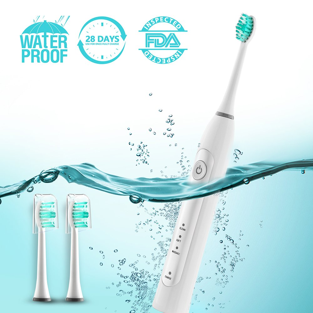 Electric Toothbrush Automatic Toothbrush Toothbrushes Waterproof Rechargeable Sonic Electric Toothbrush For Adults Power Toothbrush For Adults 3 Replacement Heads Electric Toothbrush For Travel White