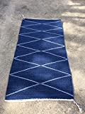 Geometric X's and Diamonds Handwoven Wool Rug. Two Rugs in One. Dark Indigo and Gray