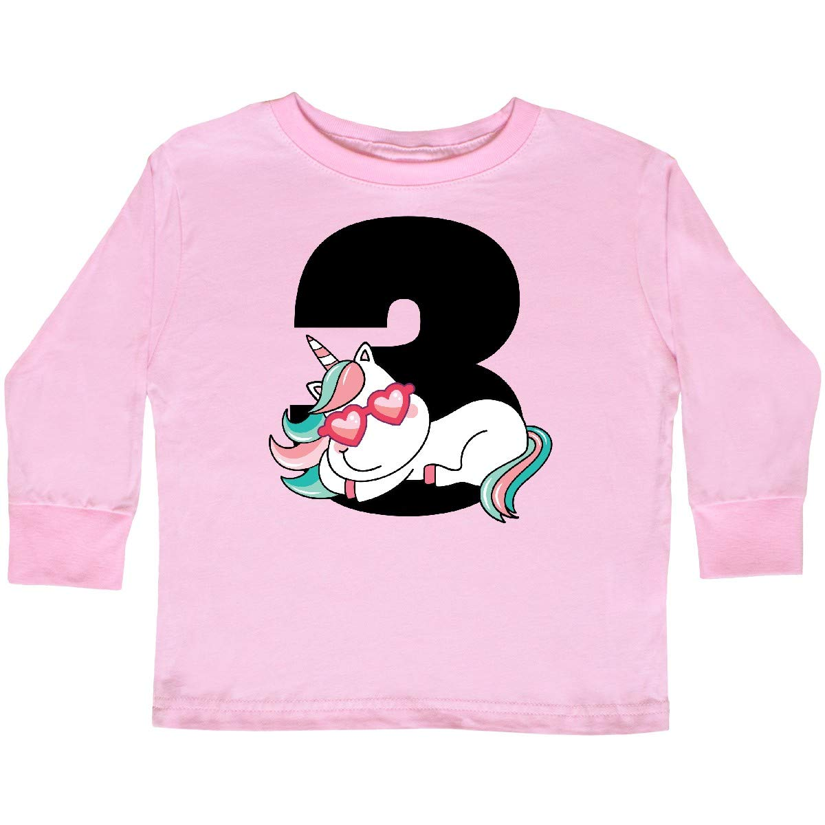 inktastic 3rd Birthday Unicorn Girls 3 Year Toddler Long Sleeve T-Shirt