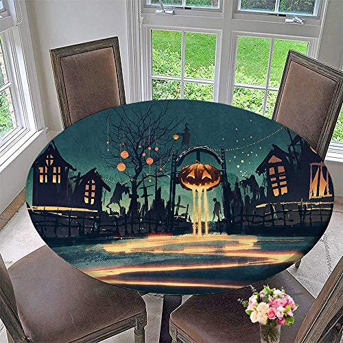 Mikihome Round Table Tablecloth Halloween Theme Night Pumpkin and Haunted House Ghost Town Artful 47.5