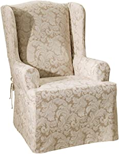SURE FIT Scroll Damask Box Cushion Wing Chair One Piece Slipcover, Relaxed Fit, Cotton/Polyester, Machine Washable, Champagne Color