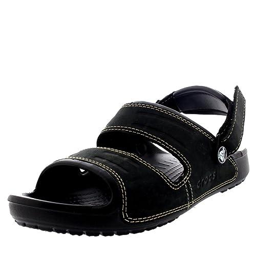 3be75952becbc Crocs Mens Yukon Two Strap Beach Open Toe Velcro Lightweight Sandals - Black  Black -