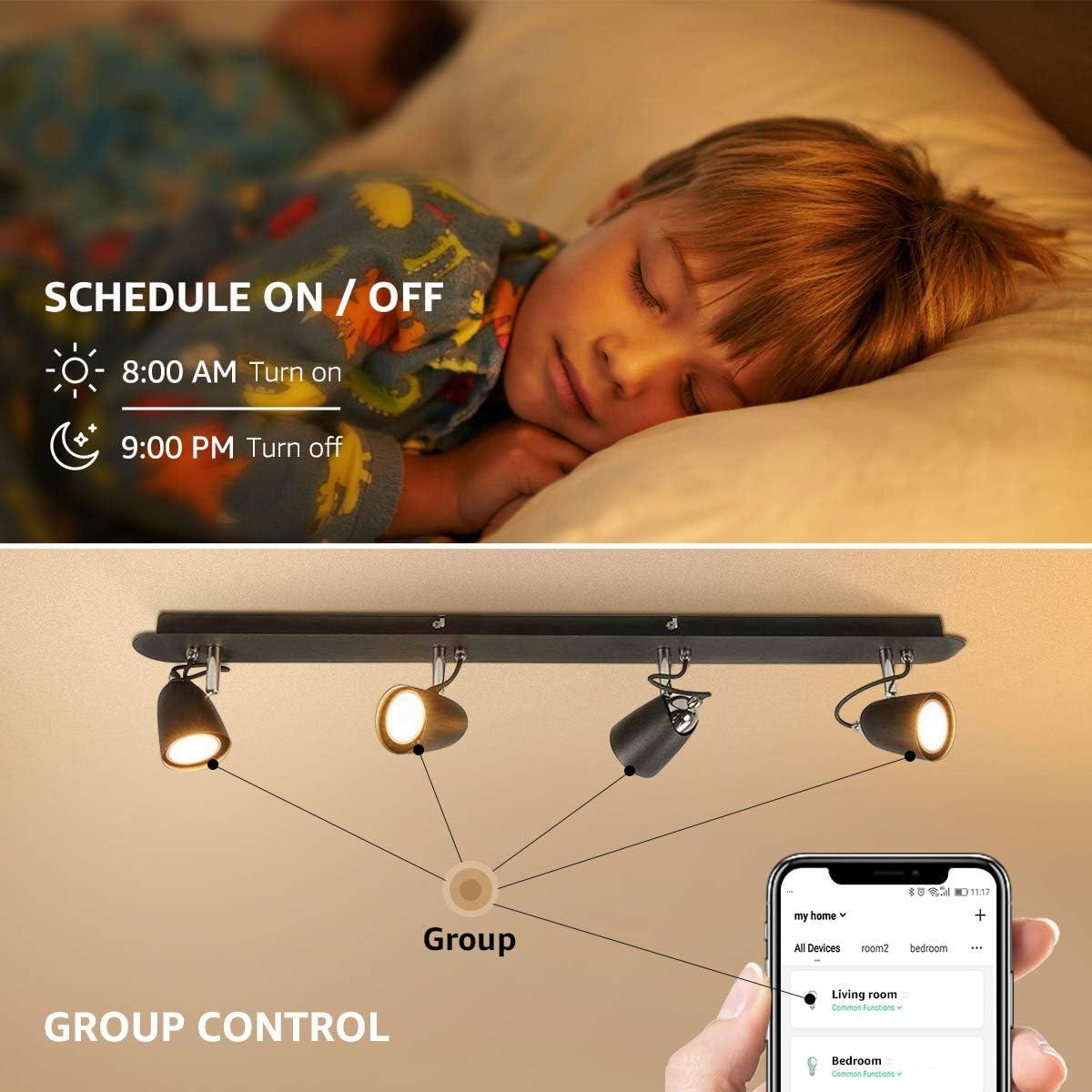 funciona con Alexa y Google Home 2700-6500K foco regulable iluminaci/ón ambiental control remoto por voz 5W RGBCW HNQH Bombilla inteligente LED GU10 l/ámpara WiFi