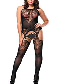 e90fed1d5 YOGINGO Womens Lace Bodystockings Strappy Fishnet Bodysuit Crotchless  Lingerie