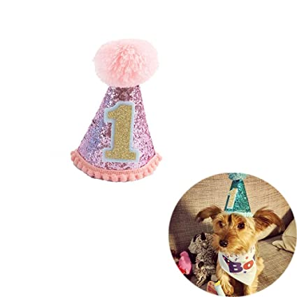 Unetox Pet Dog Cat Birthday Party First Cone Hat Mini Doggy Hats