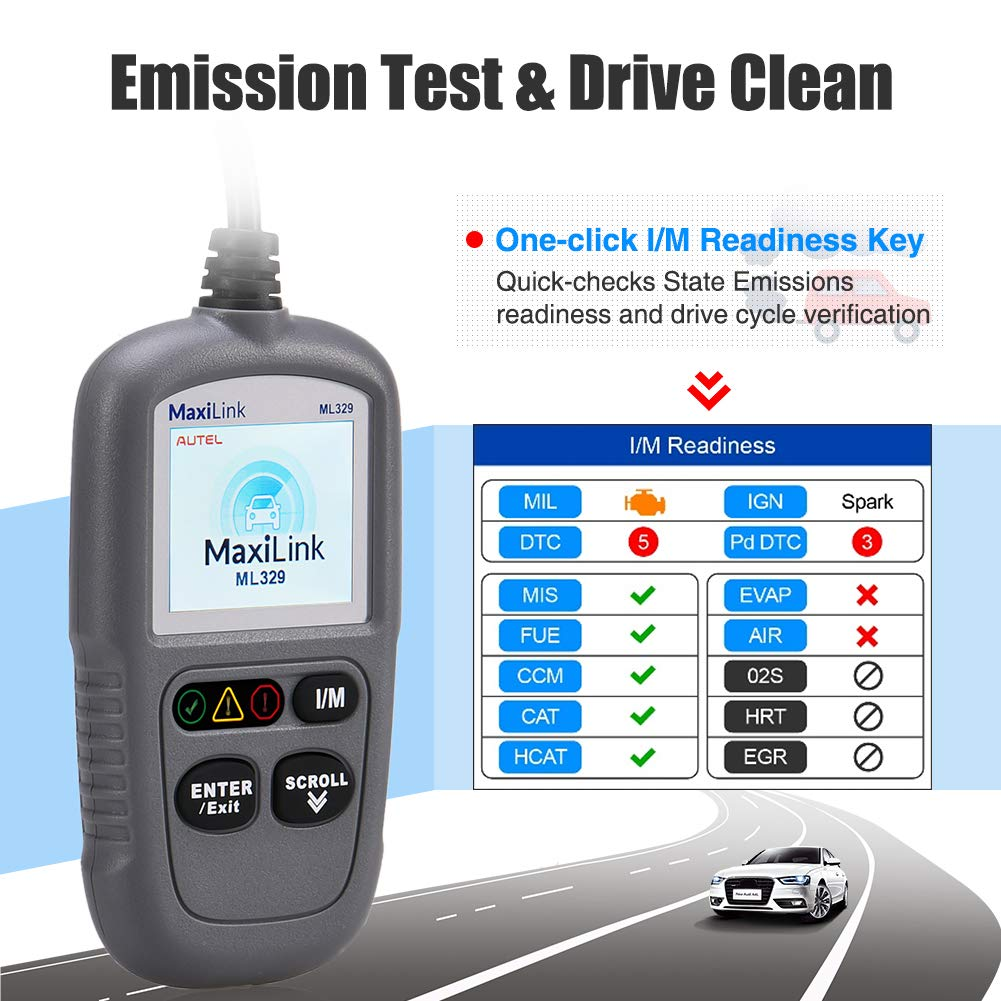 Autel ML329 Code Reader Advanced Version of The AL319 OBD2 Scanner Engine Fault CAN Scan Tool with Patented One-Click I//M /& AutoVin
