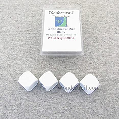 White Pack of 10 D4 Blank Standard Sized Dice