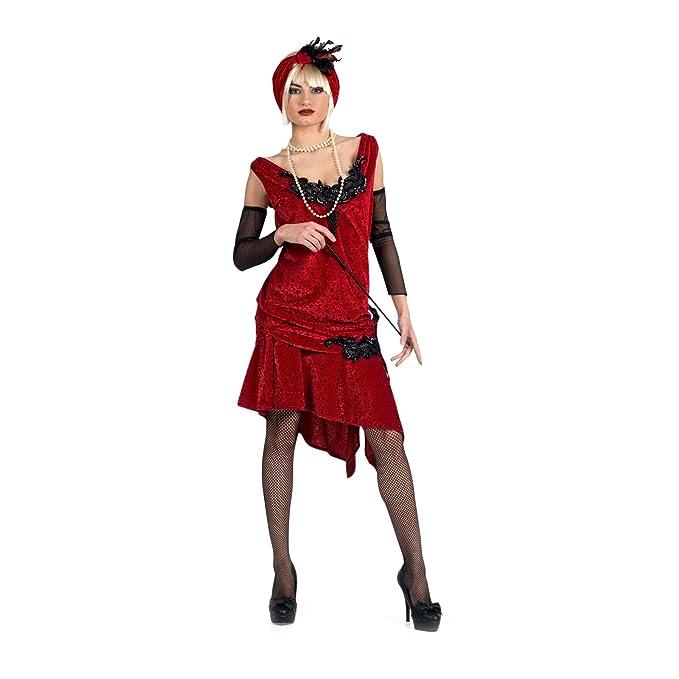 Elbenwald Traje de Fuego Rojo Charleston para Las Mujeres, Vestido ...