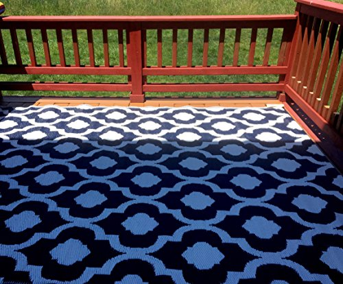 BalajeesUSA Indoor Outdoor Patio Rug Mat RV Camping Reversible Beach Mat Dark Navy Blue Color