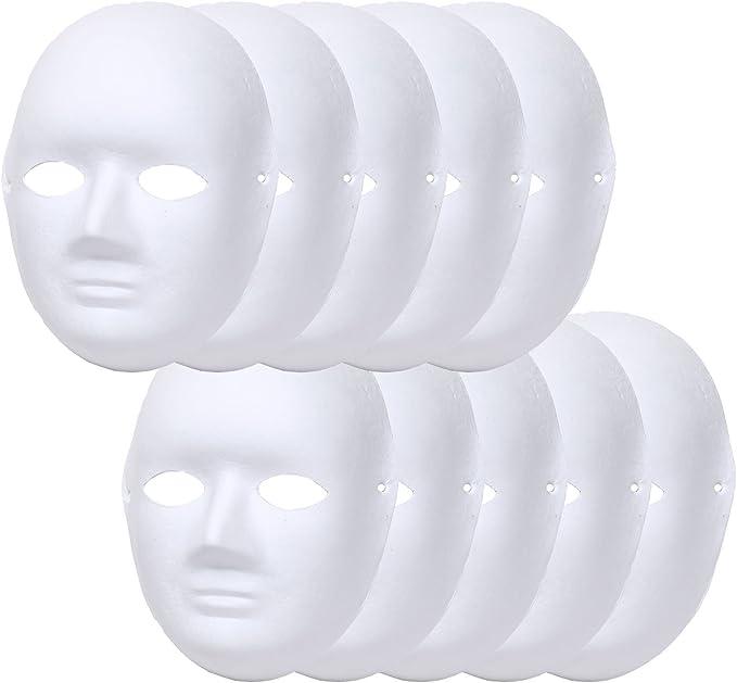 StyleCoS お面 ホワイトマスク 仮面 無地 ペイント 紙パルプ製 (女性タイプ, 10枚セット)