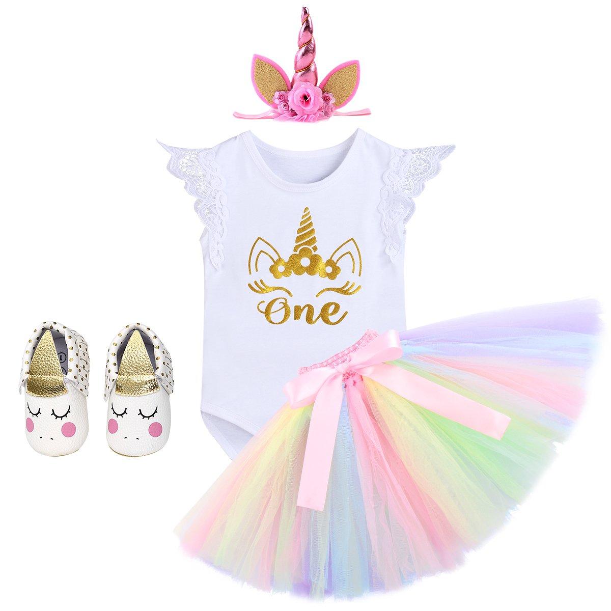 IMEKIS Unicorn Cake Smash Outfits Baby Girls 1st Birthday Romper Tutu Skirt Set