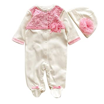 188129c913ec3 白色 満月最適 2点セット(ロンパース+帽子) かわいい ベビー服 女の子 赤ちゃん服