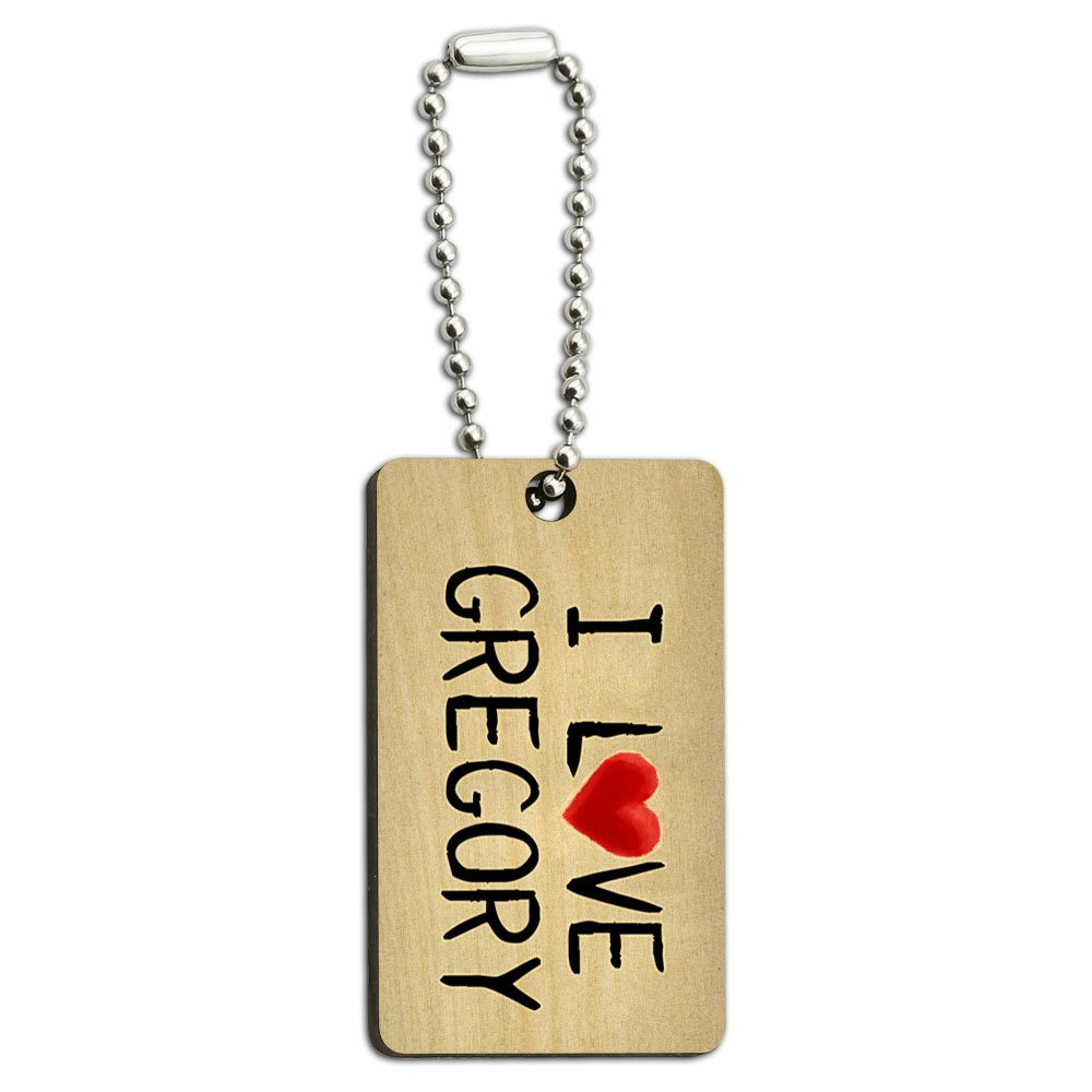 I Love Gregory Written on Paper Wood Wooden Rectangle Key Chain