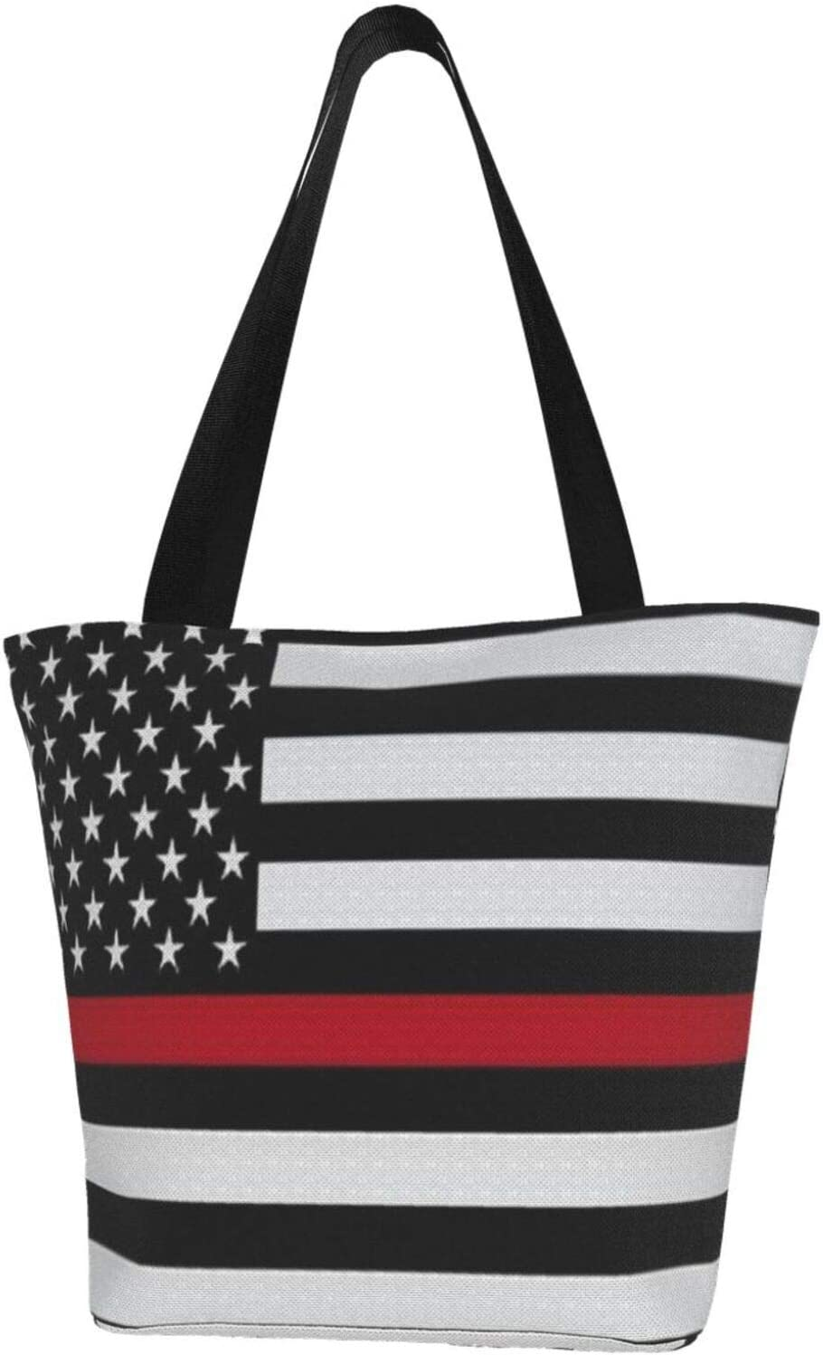 antcreptson Firefighter Red Line Flag Polyester Shopping Bag with Coin Purse, Tote Style