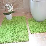 Rapport Tumble Twist Bath and Pedestal Mat Set, Cotton, Lime, 80 x 50 x 2 cm