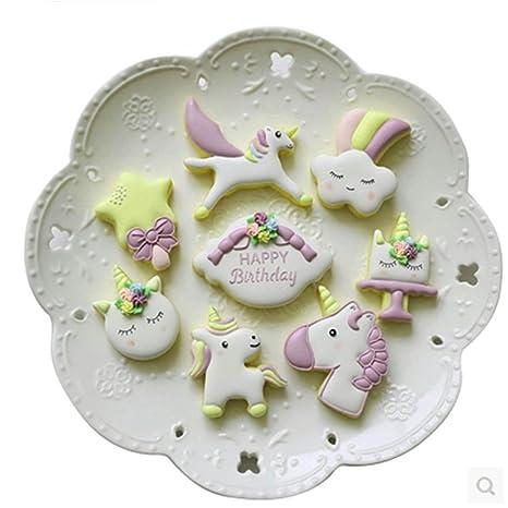 EDTOY 8pcs unicornio cortador de galletas molde para galletas, DIY para tartas Fondant decoración molde