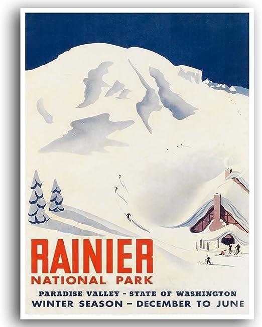 Mount Rainier Washington Art Print Home Decor Wall Art Poster C