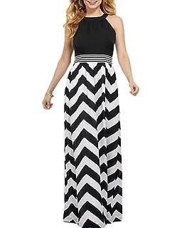 c687eb80f02 Aofur Women s Striped Sleeveless Maxi Summer Casual Long Dresses Sundress  with Elastic Waist Plus Size 8