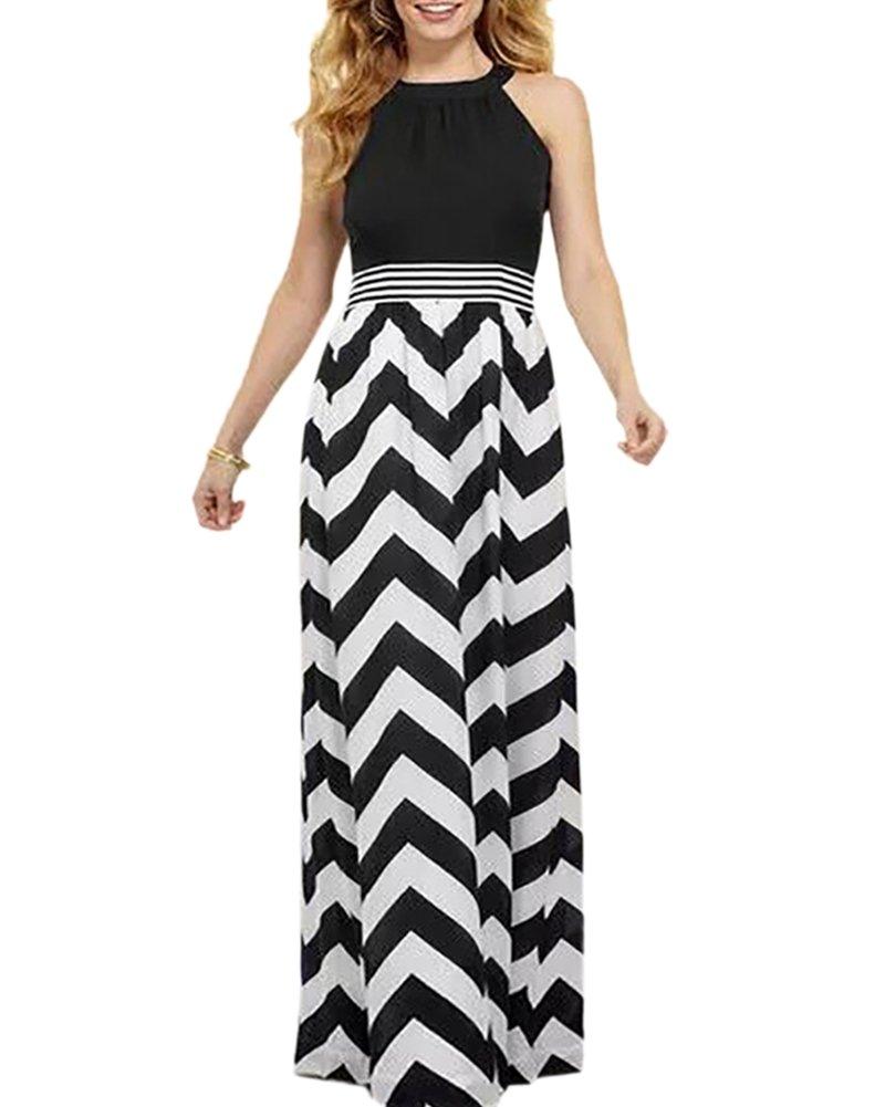 Aofur Womens Celebrity Party Evening Long Skirt Summer Casual Holiday Beach Maxi Dress (XXX-Large, Black)