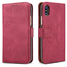 iPhone X Wallet Retro Case,TACOO Breathable Grid Solid Red Color Leather Protective Magnetic Closure Flip Kickstand Credit Card Money Slot Cover for Apple iPhone 10