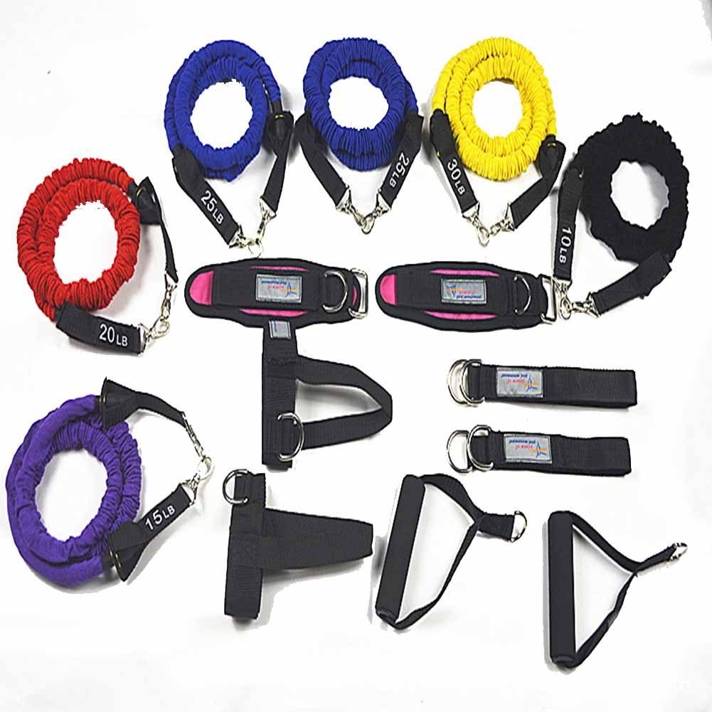 YNXing 15 Resistance Bands Set Exercise Workout Bands Kit Different Tension Levels 6 Tubes set with Handles, Hand buckle,Door Anchor, Ankle Straps and Carry Bag, Ideal for Home /Travel Fitness/Strengt by YNXing