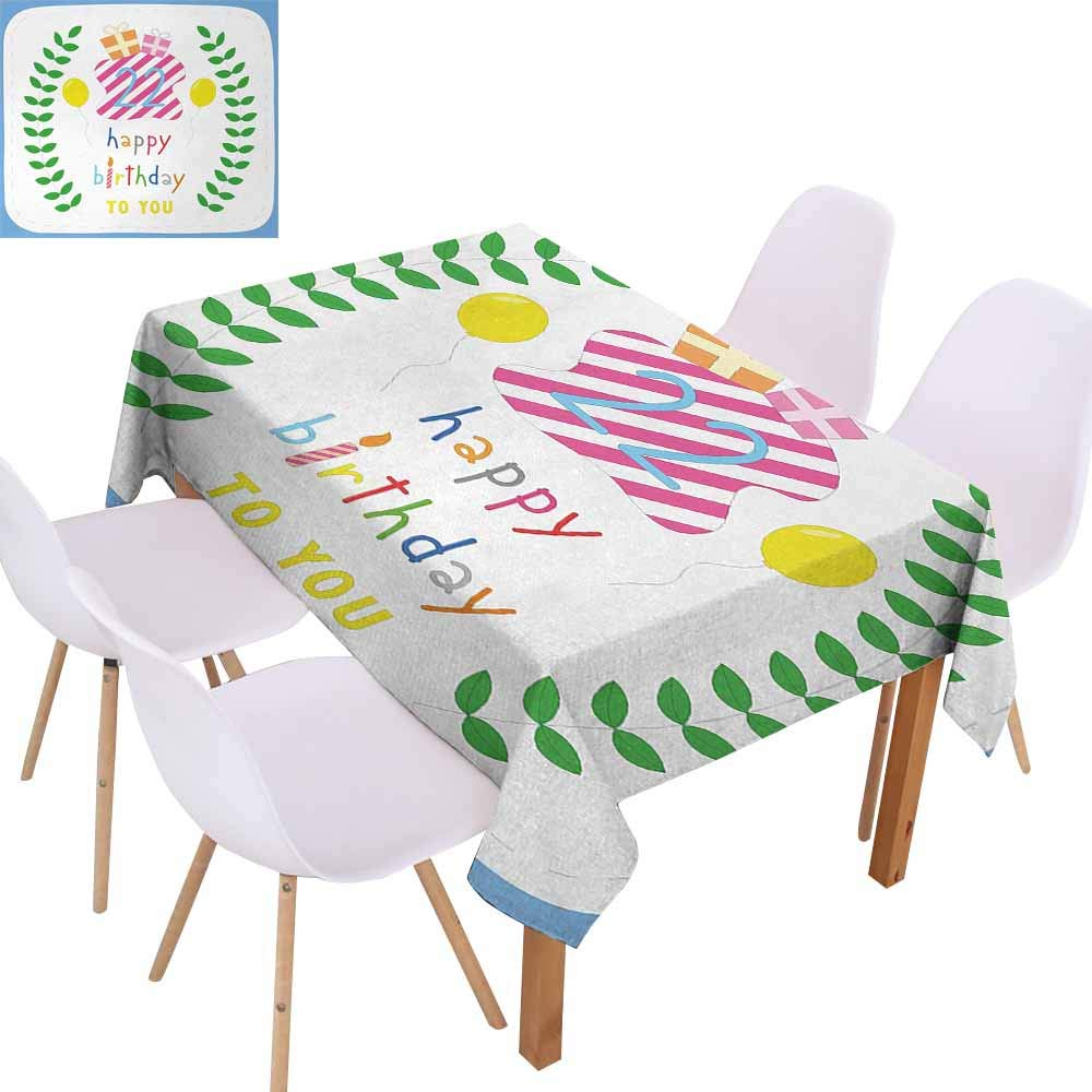 UHOO2018 22nd Birthday,Tablecloths for Kitchen Room,Anniversary Kids Girls Party with Leaves and Presents Balloon Party Design,Great for Holiday Dinner,Multicolor,60''x120''
