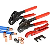 """IWISS Combo Angle Head PEX Pipe Crimping Tool Kits Used for 1/2"""" & 3/4"""" Pex Crimp with Go/No-Go Gauge with PEX Pipe Cutters suits All US F1807 Standards"""