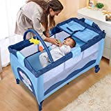 Cheap Cribs with Attached Changing Table Bed & Playpen Baby Child Travel Cot Cribs Bassinet in BLUE W/ Mat and Carrying Bag With Ebook